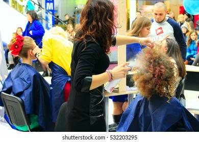 Chernihiv / Ukraine. 12 November 2016: hairdressers contest featuring young models in Chernihiv. 12 November 2016 in Chernihiv / Ukraine.
