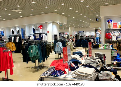Chernihiv / Ukraine. 24 August 2017: Wide assortment in shop of outer clothing. Clothes in the supermarket. 24 August 2017 in Chernihiv / Ukraine.
