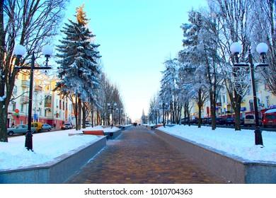 Chernihiv / Ukraine. 24 January 2018: beautiful winter park with trees lanterns and path. 24 January 2018 Chernihiv / Ukraine.