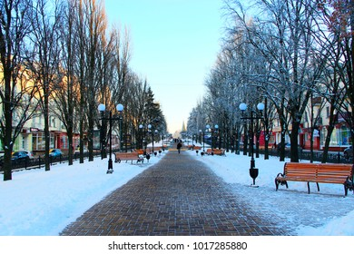 Chernihiv / Ukraine. 24 January 2018: beautiful winter park with trees benches and path. 24 January 2018 Chernihiv / Ukraine.