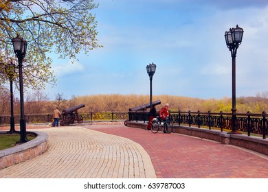 Chernihiv / Ukraine. 28 April 2017: People have a rest in the beautiful park in Chernihiv. Historical park of Chernihiv is named Val with promenade pathes.  28 April 2017 in Chernihiv / Ukraine.