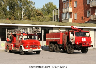 Chernihiv, Ukraine: July 31, 2019: Old Mercedes fire truck. Two fire engines. Kamaz