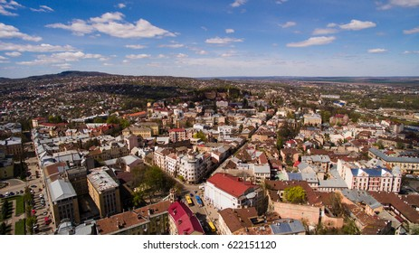 Chernivtsi city from above Western Ukraine. Sunny day of the city.