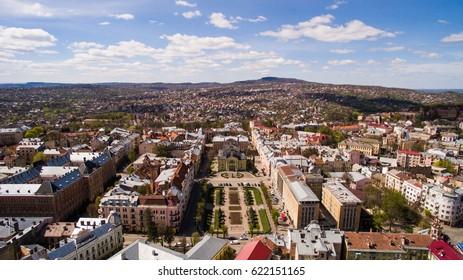 Chernivtsi city from above Western Ukraine. Sunny day of the city.