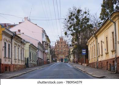 Chernivtsi, Ukraine. 13 December 2017. Exterior of Chernivtsi Univeristy UNESCO World Heritage Site