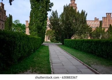 CHERNIVTSI, UKRAINE - APR 28, 2016: Residence of Bukovinian and Dalmatian Metropolitans, now part of Chernivtsi University. Yuriy Fedkovych Chernivtsi National University.