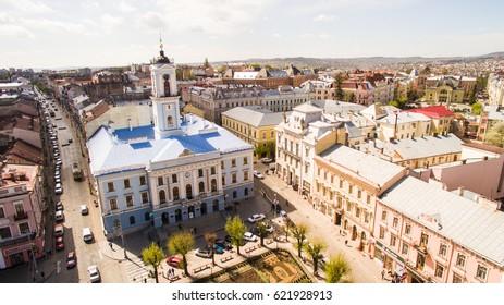 CHERNIVTSI, UKRAINE - April 12, 2017: Chernivtsi city from above Western Ukraine. Sunny day of the city.