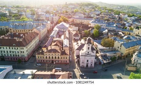 CHERNIVTSI, UKRAINE - April 2018: Chernivtsi city from above Western Ukraine. Sunny day of the city.