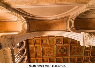 CHERNIVTSI, UKRAINE - AUG 25, 2017:  Ceilings in The Residency of the Chernivtsi National University. Metropolichy building.