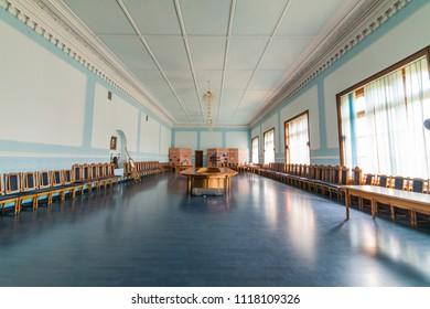 CHERNIVTSI, UKRAINE - AUG 25, 2017:  Marvelous Hall. The Residency of the Chernivtsi National University. Metropolichy building.
