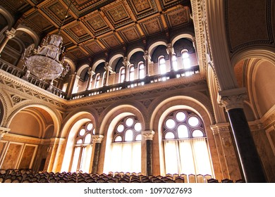 CHERNIVTSI, UKRAINE - August , 2017. Internal halls in beautiful historical building of Chernivtsi national university religious seminary  in Ukraine.