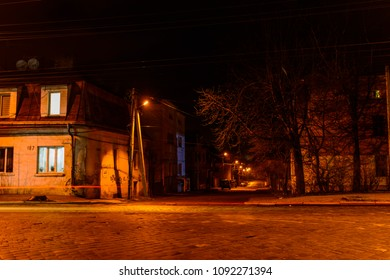 CHERNIVTSI, UKRAINE - DEC 15, 2017: Golovna Street in Chernivtsi. Night lights on the streets of Chernivtsi.