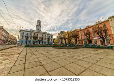 CHERNIVTSI, UKRAINE - DEC 9, 2017: The central square. City Hall. Architecture in the old town Chernivtsi. Western Ukraine.