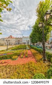 CHERNIVTSI, UKRAINE - DEC 9, 2017: The central square. Architecture in the old town Chernivtsi. Western Ukraine.