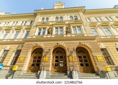 CHERNIVTSI, UKRAINE - DEC 9, 2017: Chernivtsi Post Office. Architecture in the old town Chernivtsi. Western Ukraine.