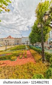 CHERNIVTSI, UKRAINE - DEC 9, 2017: City Hall. The central square. Architecture in the old town Chernivtsi. Western Ukraine.