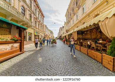 CHERNIVTSI, UKRAINE - DEC 9, 2017: The pedestrian street named Olga Kobylianska. Architecture in the old town Chernivtsi. Western Ukraine.