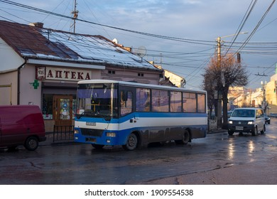 CHERNIVTSI, UKRAINE - February 03, 2021. Bus Etalon A081 riding with passengers in the streets of Chernivtsi.