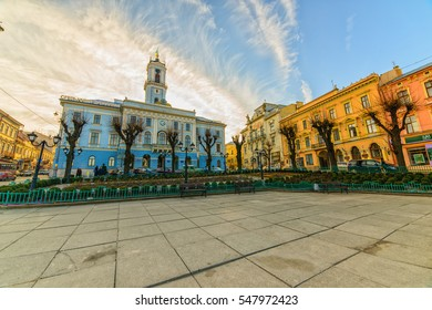 CHERNIVTSI, UKRAINE - JAN 02, 2017: Central square. Municipality of the city. Town Hall. The City Hall. City Administration. Architecture in the old town Chernivtsi. Western Ukraine.