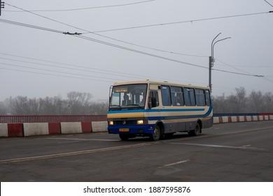 CHERNIVTSI, UKRAINE - January 04, 2021. Bus Etalon А079.34 riding with passengers in the streets of Chernivtsi.