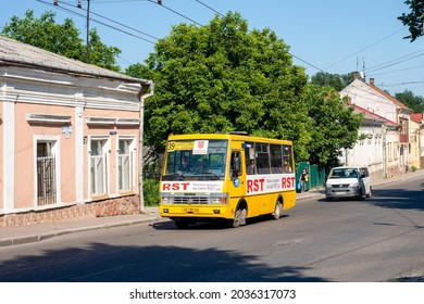 CHERNIVTSI, UKRAINE - Jule 31, 2021. Bus BAZ-A079 (TATA) riding with passengers in the streets of Chernivtsi.