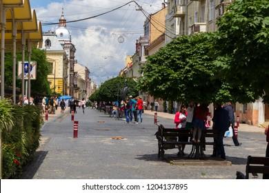 Chernivtsi, Ukraine, July 1, 2018  the Central pedestrian street Kobylianska