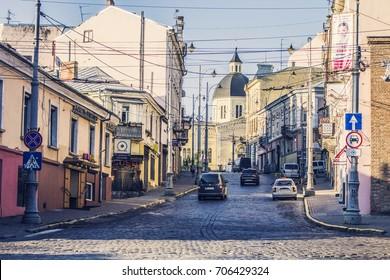 CHERNIVTSI, UKRAINE - July 2017: Central street in Chernivtsi, Ukraine. Chernivtsy downtown historical architecture on sunny day, Ukraine
