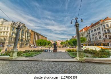 CHERNIVTSI, UKRAINE - JUN 2, 2018: Monument Olga Kobylianska. Theatre Square. Architecture in the old town Chernivtsi. Western Ukraine.