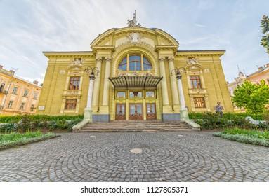 CHERNIVTSI, UKRAINE - JUN 2, 2018: Chernivtsi Regional Academic Ukrainian Drama Theater named Olga Kobylianska.  Theatre Square. Architecture in the old town Chernivtsi. Western Ukraine.