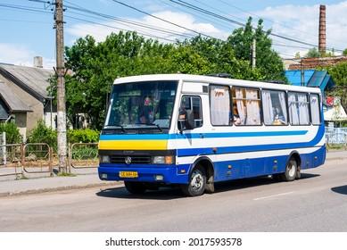 CHERNIVTSI, UKRAINE - June 10, 2021. Bus Etalon A079 riding with passengers in the streets of Chernivtsi.