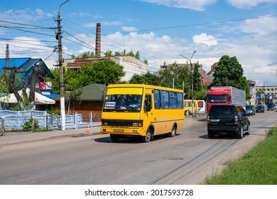 CHERNIVTSI, UKRAINE - June 10, 2021. Bus BAZ A079 (TATA) riding with passengers in the streets of Chernivtsi.