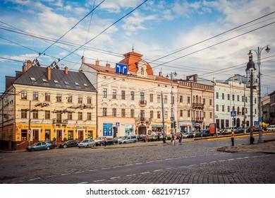 CHERNIVTSI, UKRAINE - JUNE 16, 2017: Chernivtsi street