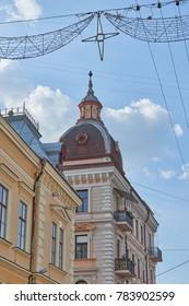 CHERNIVTSI, UKRAINE - JUNE 5, 2017: Buildings on pedestrian street named Olga Kobylianska. Western Ukraine. Day of the city.