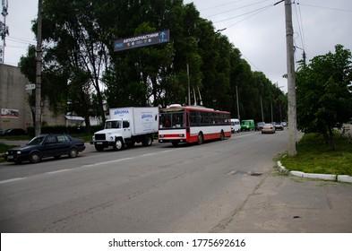 CHERNIVTSI, UKRAINE - May 15, 2018. Trolleybus Skoda 14Tr #364 (ex. Brno #3245) riding with passengers in the streets of Chernivtsi.