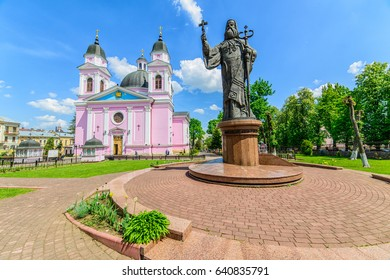 CHERNIVTSI, UKRAINE - MAY 9, 2017: Cathedral of the Holy Spirit Ukrainian Orthodox Church (Moscow Patriarchate) in Chernivtsi. Monument to the Metropolitan. Architecture in the old town Chernivtsi.
