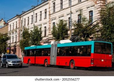 CHERNIVTSI, UKRAINE - October 01, 2021. Trolleybus Hess SwissTrolley 2 #397 (ex. Biel #88) riding with passengers in the streets of Chernivtsi.
