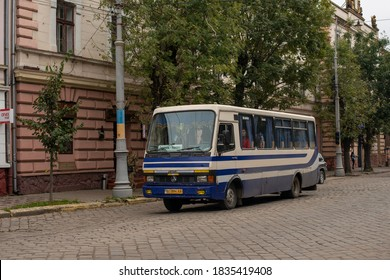 CHERNIVTSI, UKRAINE - October 16, 2020. Bus BAZ-A079.23 riding with passengers in the streets of Chernivtsi.