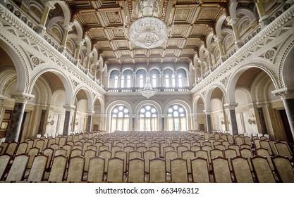 CHERNIVTSI, UKRAINE- SEPTEMBER 11, 2016: Famous marble hall of Chernivtsi University, Ukraine. Old decorative interior of architectural monument of UNESCO in Ukraine