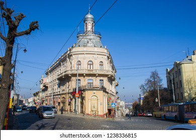 CHERNIVTSI, UKRAINE-NOVEMBER 9, 2018: House of the 19th century in the form of a ship or a Shiff front view. Architecture of old sity of Chernivtsi, Bukovina