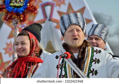 Chernivtsi,Bukovyna,Ukraine - January 13, 2019: Folklore collective perfoms ethnic singing during the festival of Christmas Carols in open-air museum of folk architecture