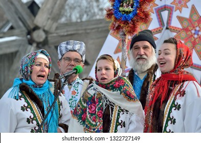 Chernivtsi,Bukovyna,Ukraine - January 13, 2019: Folklore collective perfoms ethnic singing during festival of Christmas Carols in open-air museum of folk architecture