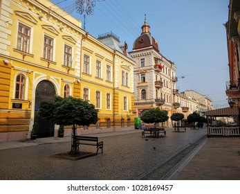 Chernivtsi/Ukraine - 07/27/2016: The main walk street of Chernivtsi, the architecture of the Chernivtsi