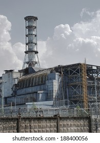 """CHERNOBYL - 12 JUNE: Chernobyl disaster results on June 12, 2010 in Chernobyl area, Ukraine.Chernobyl nuclear power plant.Fourth block, now the object """"Shelter"""" (""""Sarcophagus)."""
