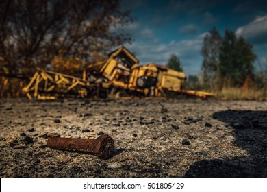 Chernobyl exclusion zone. Ruins of abandoned Pripyat city. Autumn in zone of exclusion. Zone of high radioactivity. Stalkers screw. Call of Pripyat. Shadows of Chernobyl. Clear sky.