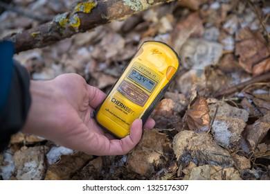 Chernobyl Exclusion Zone, Ukraine - February 23, 2019: Radiation level indices in Chernobyl Exclusion Zone, Ukraine