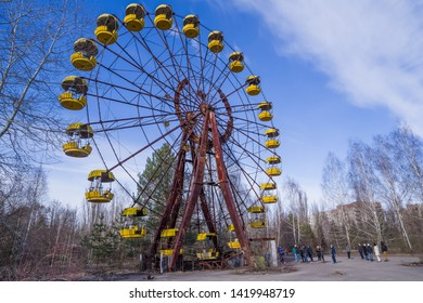 Chernobyl Exclusion Zone, Ukraine - February 23, 2019: Abandoned amusement park in the center of the city of Pripyat, in Chernobyl Exclusion Zone, Ukraine