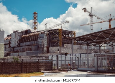 Chernobyl Nuclear Power Plant after atomic reactor explosion. Destroyed abandoned station and ghost city Pripyat  ruins, Chernobyl disaster. Exclusion zone, Radiation Risk, fallout lost place.