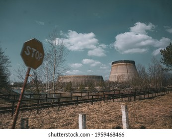 Chernobyl nuclear power plant cooling tower, abandoned city Pripyat, Chernobyl NPP