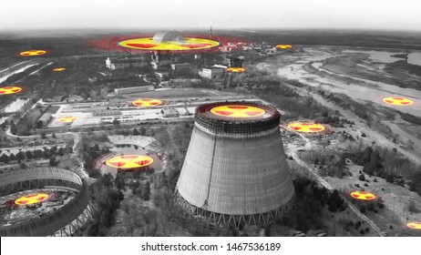 Chernobyl nuclear power plant. Radiation contamination area near Chernobyl reactor. Symbol of radiation on the background of the cooling tower in Chernobyl. Chernobyl concept - black and white.