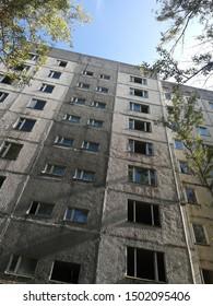Chernobyl, Pripyat tour. Apartment house from Chernobyl.
